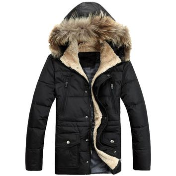 Casual Fur Collar Hooded Winter Jacket Medium Long 90% White Duck Down-padding Men Winter Coat