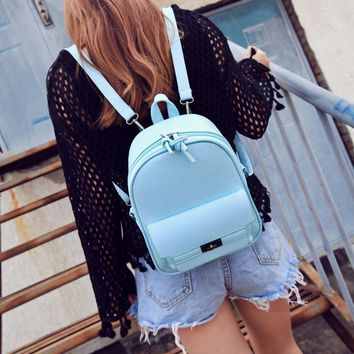 Simple Fashion Women Backpack Leather Solid Color Lichee Pattern Bags Ladies Shopping Travel Girls School Shoulder Bag W