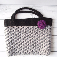READY TO SHIP gray and black tote purse with a by prettylilpieces