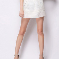 White Textured Bubble Mini Skirt