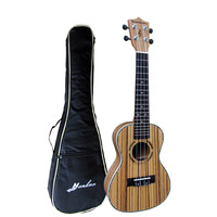 "Free shipping 23"" Concert Ukulele Guitar Mini Acoustic uke Handcraft Zebra Wood Hawaii 4 strings instruments Ukelele+free bag"