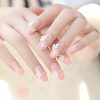 Wedding Nails Sweet Princess Pink Designed Long Fake Nails 24pcs Flower Oval Press on Nail Tips for Party Faux Ongles Pieds