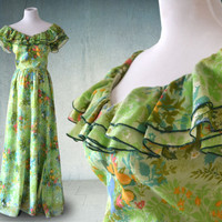1970s Victor Costa Sakowitz Floral Maxi Dress Garden Party Dress