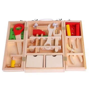 New Children's Simulation House Wooden Service Box Tool Repair Kit Funny Intelligence Toy