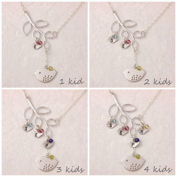 Mothers Necklace, 1 to 4 kids, mother of three, three kids, birthstone necklace, mother daughter, baby initial, personalized, baby bird, N6