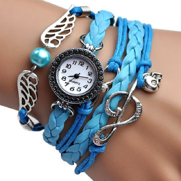 NEW fashion Angel Wings MUSIC Bracelet Watch women Parcords PU leather shammy Gift rhinestone wristwatch Geneva Style