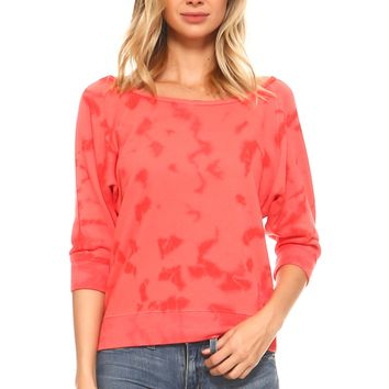 Women's Tie Dye French Terry Dolman Sleeve Sweatshirt