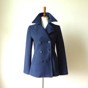 XS Navy blue wool Petite Bateau pea coat with red and blue striped lining in excellent condition