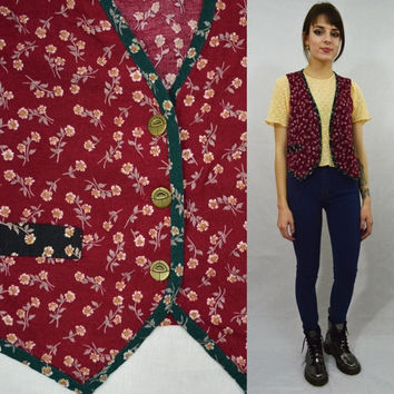 Floral Vest Boho Hippie Soft Grunge Preppy Hipster Small MED Vintage Womens Clothing Maroon Green Tiny Flowers Patterned Vest Hippie Babe