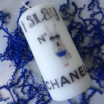 White Chanel Candle / Chanel Inspired CANDLE / Decorative Candle / Home Decor / Room Decor / Prada / Chanel / Celine / Hermes