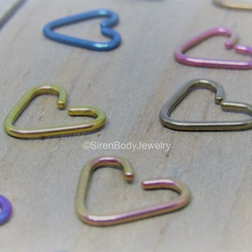 Niobium heart helix daith piercing jewelry 16g easy bend seam ring 10mm