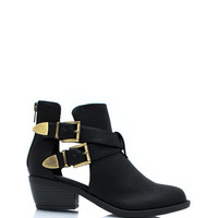 So-Strapping-Buckled-Cut-Out-Boots BLACK - GoJane.com