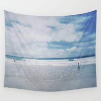 Vintage beach. Playing with the waves. Wall Tapestry by Guido Montañés