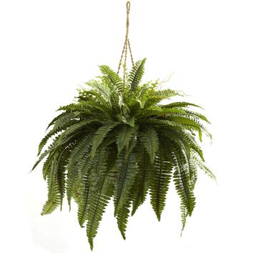 Silk Flowers -Double Giant Boston Fern Hanging Basket Artificial Plant