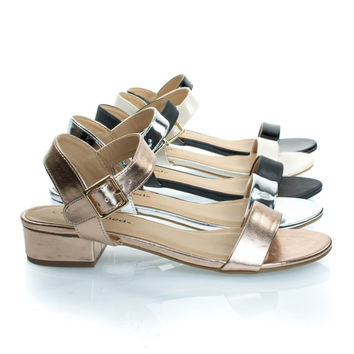Refine Rose Gold By City Classified, Low Chunky Block Heel Sandal, Women's Open Toe Summer Shoes