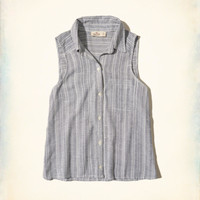 Girls Button-Front Linen Tank | Girls New Arrivals | HollisterCo.com