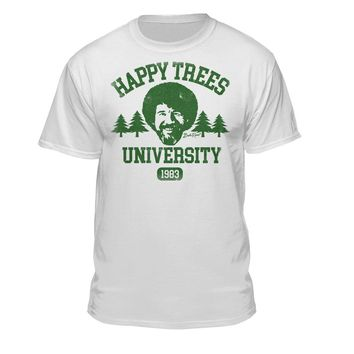 "Bob Ross ""Happy Trees University"" Official Licensed Graphic T-Shirt for Men and Women"
