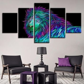 5 Pcs Abstract Colorful Lion Sparks Animal Canvas Panel Wall Art Posters
