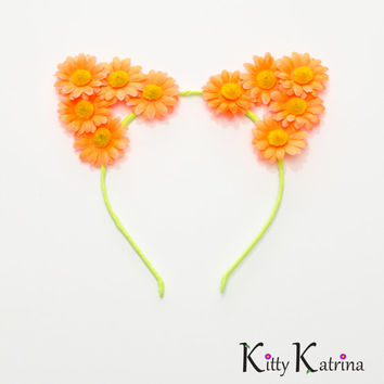 Neon Cat Ear Headband, Floral Cat Ears, Burning Man Clothing, Beyond Wonderland, Nocturnal Wonderland, Nightmare Festival, Life in Color