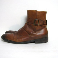 vintage mens boots. brown leather ankle boots. buckled boots. 10.5
