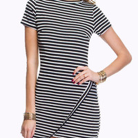 Monochrome Stripe Asymmetric Bodycon Dress