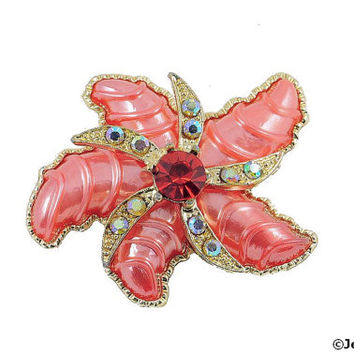 Vintage Starfish Brooch Pin Thermoset Rhinestone AB Red Pink Coral Beach Ocean 60s