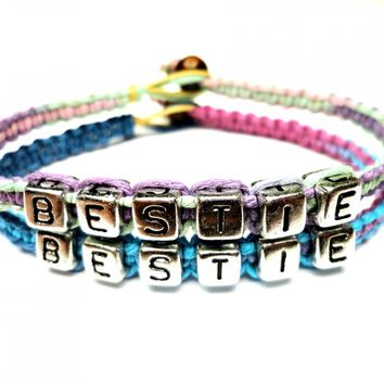 Bestie Bracelet Set, Best Friends, Pastel and Purple Haze Macrame Hemp Jewelry
