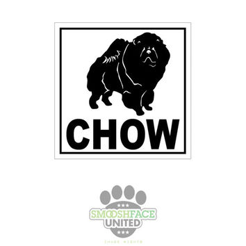 Chow dog decal - square car vinyl stickers - chow breed bias, #chowchowlove