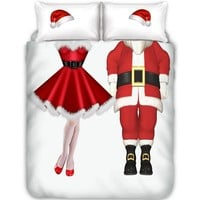 Christmas Bedding Duvet Cover Pillowcase Set Double/Full/Queen/King Size Holiday Bedroom Decor (No Sheet No Filling)