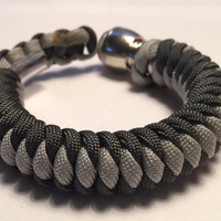 Charcoal and Grey 550 Paracord  Secret Pipe Bracelet w/ FREE SHIPPING