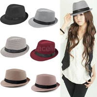 New Fashion Men Women Fedora Hat Houndstooth Pattern Pinched Crown Ribbon Panama Trilby Cap Vintage Headwear = 1946590276
