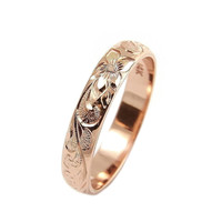 14K ROSE GOLD CUSTOM HAND ENGRAVED HAWAIIAN QUEEN PLUMERIA SCROLL BAND RING 4MM