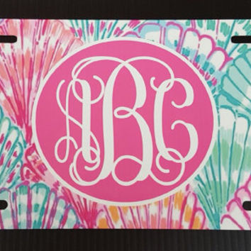 Lilly pulitzer oh shello Monogram License Plate seashell license plate seashell car tag personalized license plate monogram car tag