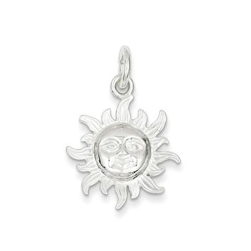 Sterling Silver Polished Sun Pendant