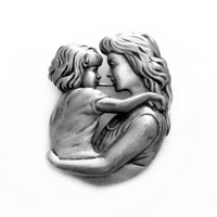 Vintage Mother and Child Brooch, Signed JJ Silver Pewter Pin