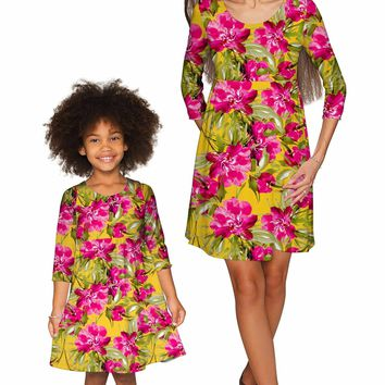 Indian Summer Gloria Empire Waist Floral Dress - Mommy & Me
