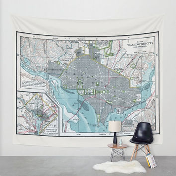 Washington Map Tapestry Wall hanging - Washington DC city map, vintage map, blue gray, streets, detailed, capitol USA