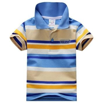 Cute Child Baby Boy Stand Collar Striped T-shirt Casual Kids Tops Tee Polo Shirt Hot
