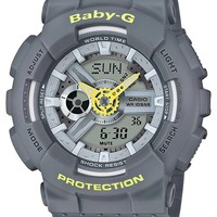 Casio Baby-G BA110PP-8A Punching Pattern Series Analog Digital Grey Watch