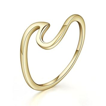 925 Sterling Silver Wave Gold Color and Silver Color Ring For Women