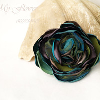 Turquoise brown Flower brooch Teal flower clip for hair Corsage flower brooch Silk flower pin Hair piece Birthday gift idea Gift for mother