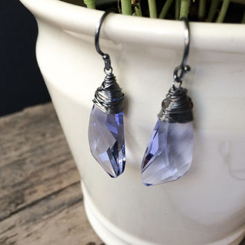Crystal Drop Earrings / Wire Wrapped Earrings / Swarovski Jewelry / Spring Earrings / Provence Lavender Earrings / Sterling Silver Jewelry