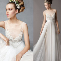 New Tulle Sheer Beach Wedding Dresses Bridal Ball Gown Party Prom Evening Custom