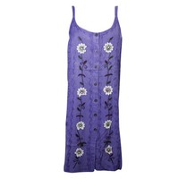 Mogul Womens Shift Dress Purple Floral Embroidered Button Front Summer Comfy Dresses - Walmart.com