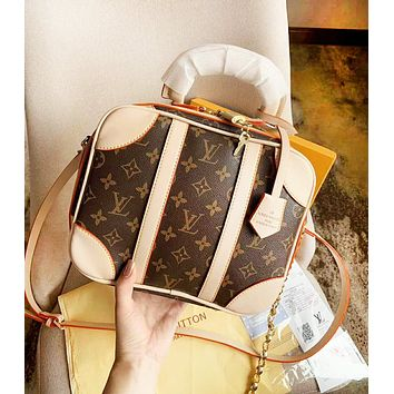 LV Louis Vuitton Fashion New Monogram Print Shopping Leisure Shoulder Bag Women Handbag