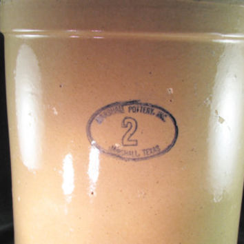 Marshall Pottery Inc, Marshall Texas 2 Gallon Tan Glaze Crock Rustic Pottery