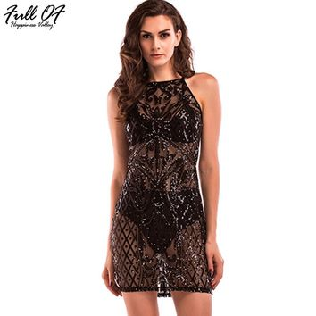 Sexy Women Gold Black Mesh Sequins Dress 2017 Sleeveless Woman Perspective Club Overalls Luxury party Dresses Bodycon vestidos
