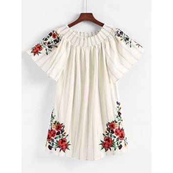Shirred Bardot Embroidery Dress
