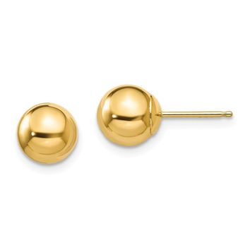 7mm Polished Ball Friction Back Stud Earrings in 14k Yellow Gold