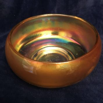 #0002 Vintage carnival iridescent Gold color glass bowl